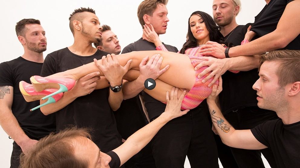 Watch Trailer Megan Rain Slutty Teen In A 10 Cock Blowbang! It's RAINING Cum!