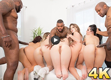 Interracial Orgy Buffet - Lex And Friends Order Up White Girl Anal, DP, Facials And More!